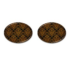 Damask1 Black Marble & Yellow Grunge (r) Cufflinks (oval) by trendistuff