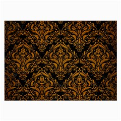 Damask1 Black Marble & Yellow Grunge (r) Large Glasses Cloth (2 Side) by trendistuff