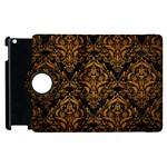 DAMASK1 BLACK MARBLE & YELLOW GRUNGE (R) Apple iPad 3/4 Flip 360 Case Front