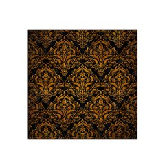 Damask1 Black Marble & Yellow Grunge (r) Satin Bandana Scarf by trendistuff