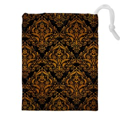 Damask1 Black Marble & Yellow Grunge (r) Drawstring Pouches (xxl) by trendistuff