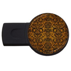 Damask2 Black Marble & Yellow Grunge Usb Flash Drive Round (2 Gb) by trendistuff