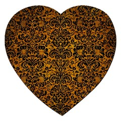 Damask2 Black Marble & Yellow Grunge Jigsaw Puzzle (heart) by trendistuff