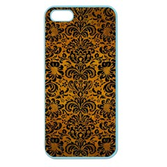 Damask2 Black Marble & Yellow Grunge Apple Seamless Iphone 5 Case (color)