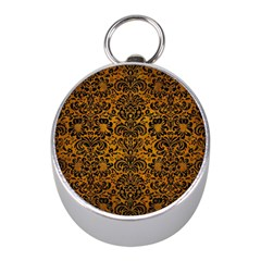 Damask2 Black Marble & Yellow Grunge Mini Silver Compasses by trendistuff