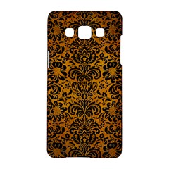 Damask2 Black Marble & Yellow Grunge Samsung Galaxy A5 Hardshell Case  by trendistuff