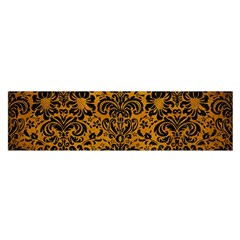 Damask2 Black Marble & Yellow Grunge Satin Scarf (oblong) by trendistuff