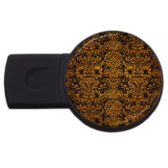 Damask2 Black Marble & Yellow Grunge (r) Usb Flash Drive Round (2 Gb) by trendistuff