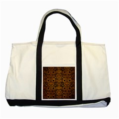 Damask2 Black Marble & Yellow Grunge (r) Two Tone Tote Bag by trendistuff