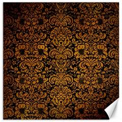 Damask2 Black Marble & Yellow Grunge (r) Canvas 20  X 20