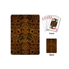 Damask2 Black Marble & Yellow Grunge (r) Playing Cards (mini)  by trendistuff