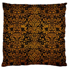 Damask2 Black Marble & Yellow Grunge (r) Large Cushion Case (two Sides) by trendistuff