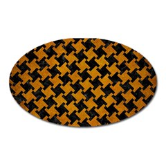 Houndstooth2 Black Marble & Yellow Grunge Oval Magnet by trendistuff