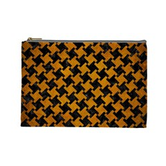Houndstooth2 Black Marble & Yellow Grunge Cosmetic Bag (large)  by trendistuff