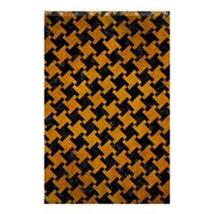 Houndstooth2 Black Marble & Yellow Grunge Shower Curtain 48  X 72  (small)  by trendistuff