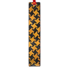 Houndstooth2 Black Marble & Yellow Grunge Large Book Marks by trendistuff