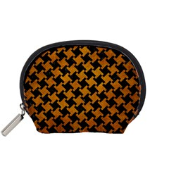 Houndstooth2 Black Marble & Yellow Grunge Accessory Pouches (small)  by trendistuff
