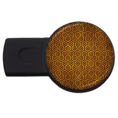 Hexagon1 Black Marble & Yellow Grunge Usb Flash Drive Round (2 Gb) by trendistuff