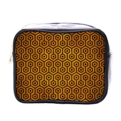 Hexagon1 Black Marble & Yellow Grunge Mini Toiletries Bags by trendistuff
