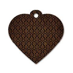 Hexagon1 Black Marble & Yellow Grunge (r) Dog Tag Heart (two Sides) by trendistuff