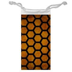 Hexagon2 Black Marble & Yellow Grunge Jewelry Bag by trendistuff