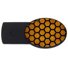 Hexagon2 Black Marble & Yellow Grunge Usb Flash Drive Oval (4 Gb) by trendistuff