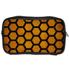 Hexagon2 Black Marble & Yellow Grunge Toiletries Bags 2 Side by trendistuff