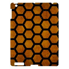 Hexagon2 Black Marble & Yellow Grunge Apple Ipad 3/4 Hardshell Case by trendistuff