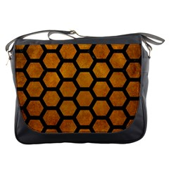 Hexagon2 Black Marble & Yellow Grunge Messenger Bags by trendistuff