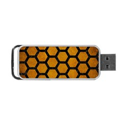 Hexagon2 Black Marble & Yellow Grunge Portable Usb Flash (two Sides) by trendistuff
