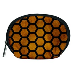 Hexagon2 Black Marble & Yellow Grunge Accessory Pouches (medium)  by trendistuff