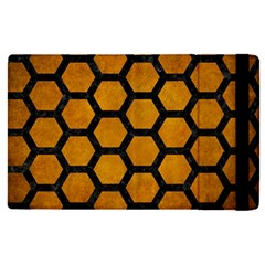 Hexagon2 Black Marble & Yellow Grunge Apple Ipad Pro 12 9   Flip Case by trendistuff