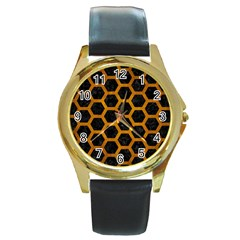Hexagon2 Black Marble & Yellow Grunge (r) Round Gold Metal Watch by trendistuff