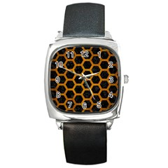 Hexagon2 Black Marble & Yellow Grunge (r) Square Metal Watch by trendistuff