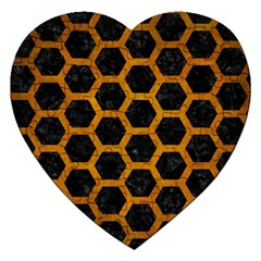 Hexagon2 Black Marble & Yellow Grunge (r) Jigsaw Puzzle (heart) by trendistuff