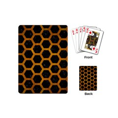 Hexagon2 Black Marble & Yellow Grunge (r) Playing Cards (mini)  by trendistuff
