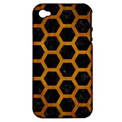 Hexagon2 Black Marble & Yellow Grunge (r) Apple Iphone 4/4s Hardshell Case (pc+silicone) by trendistuff