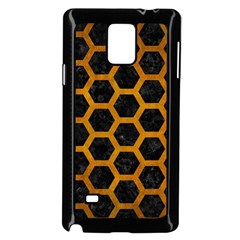Hexagon2 Black Marble & Yellow Grunge (r) Samsung Galaxy Note 4 Case (black) by trendistuff