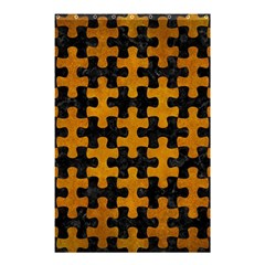 Puzzle1 Black Marble & Yellow Grunge Shower Curtain 48  X 72  (small)  by trendistuff