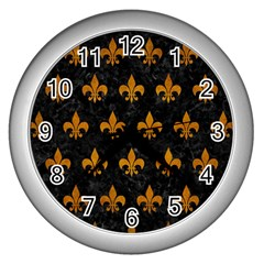 Royal1 Black Marble & Yellow Grunge Wall Clocks (silver)  by trendistuff