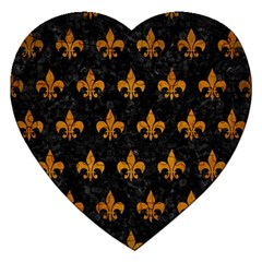 Royal1 Black Marble & Yellow Grunge Jigsaw Puzzle (heart) by trendistuff