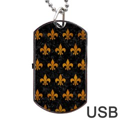 Royal1 Black Marble & Yellow Grunge Dog Tag Usb Flash (one Side) by trendistuff
