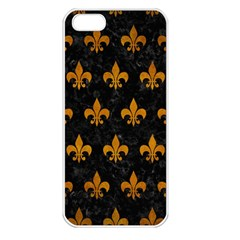 Royal1 Black Marble & Yellow Grunge Apple Iphone 5 Seamless Case (white) by trendistuff