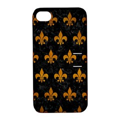 Royal1 Black Marble & Yellow Grunge Apple Iphone 4/4s Hardshell Case With Stand by trendistuff