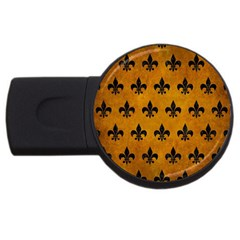 Royal1 Black Marble & Yellow Grunge (r) Usb Flash Drive Round (2 Gb) by trendistuff