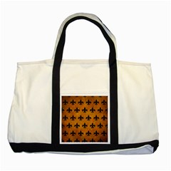 Royal1 Black Marble & Yellow Grunge (r) Two Tone Tote Bag by trendistuff