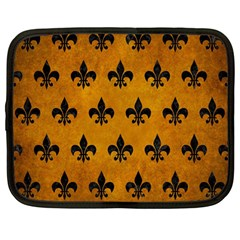 Royal1 Black Marble & Yellow Grunge (r) Netbook Case (large) by trendistuff