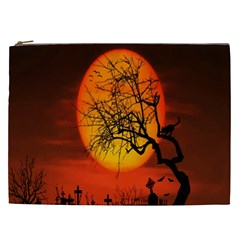 Helloween Midnight Graveyard Silhouette Cosmetic Bag (xxl)  by Mariart