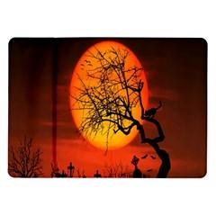 Helloween Midnight Graveyard Silhouette Samsung Galaxy Tab 10 1  P7500 Flip Case by Mariart