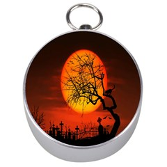Helloween Midnight Graveyard Silhouette Silver Compasses by Mariart